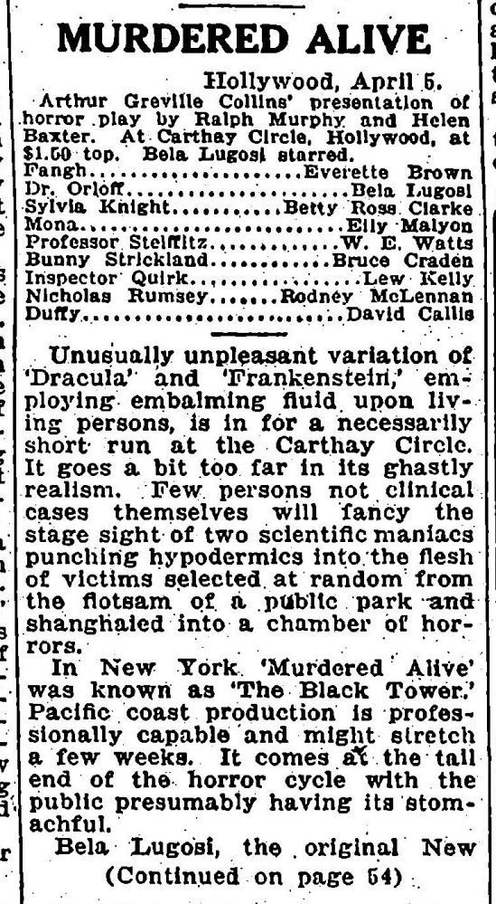 Murdered Alive, Variety April 12, 1932