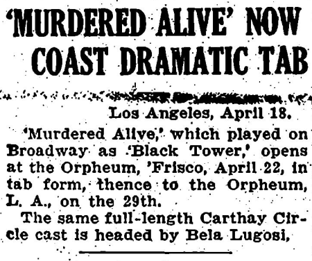Murdered Alive, Variety April 19, 1932