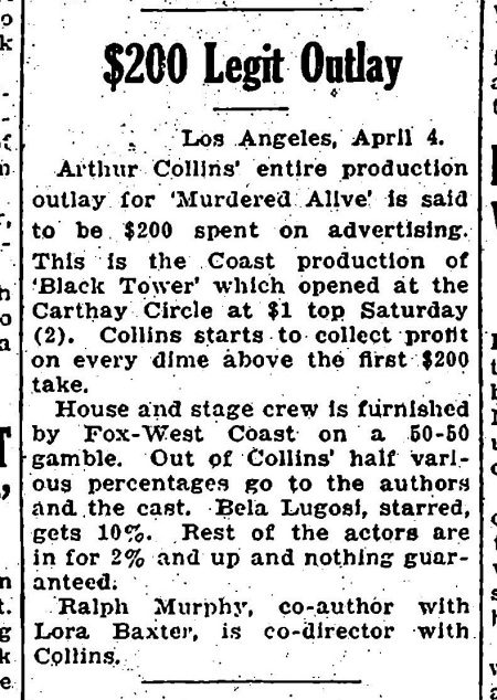 Murdered Alive, Variety April 5, 1932