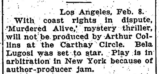 Murdered Alive, Variety, February 9, 1932