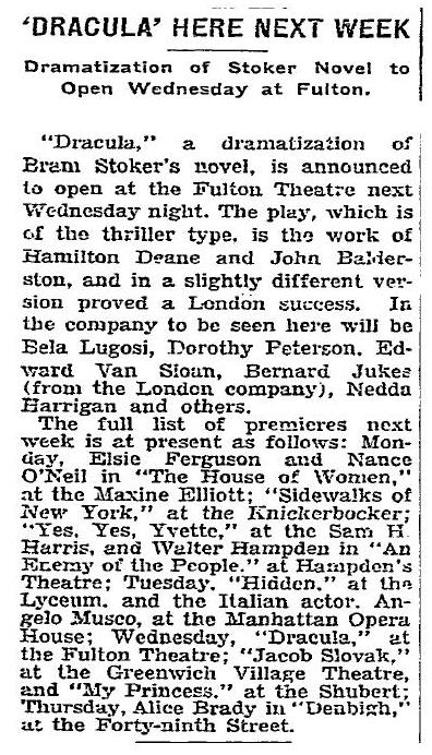 New York Times September 28, 1927