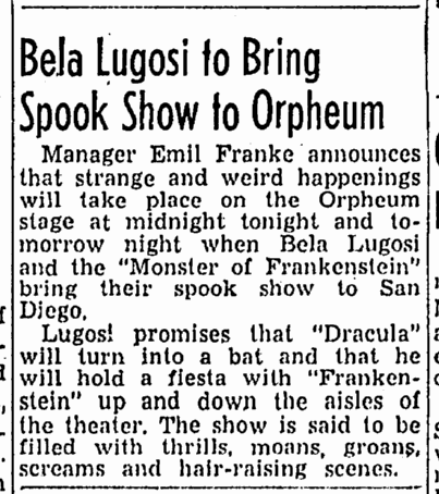 Spook Show, San Diego Union, February 7, 1947
