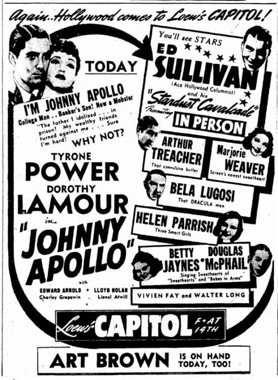 Stardust Cavalcade, Evening Star, April 26, 1940