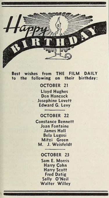 The Film Daily, October 21, 1938