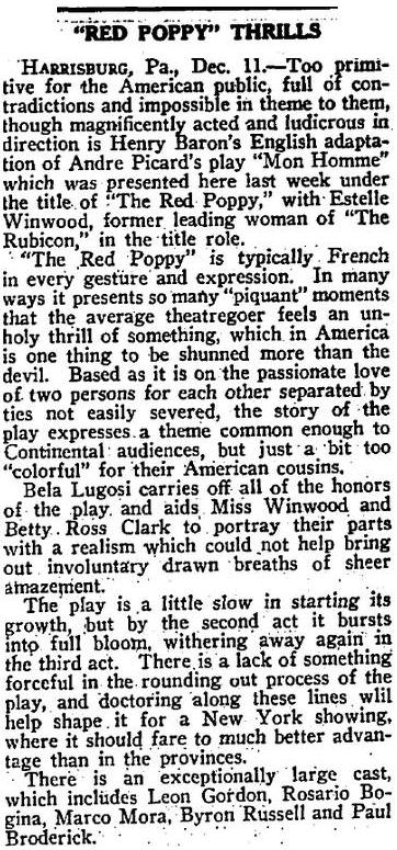 The Red Poppy - New York Clipper December 13 1922