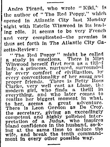 The Red Poppy New York Times December 3 1922