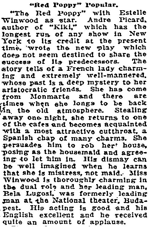 The Red Poppy, Oregonian, December 31, 1922