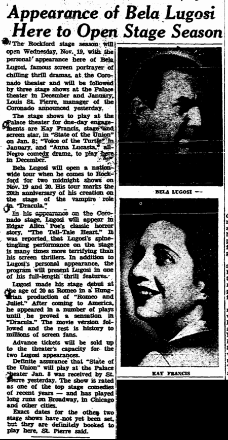 The Tell-Tale Heart, The Rockford Morning Star, November 2, 1947