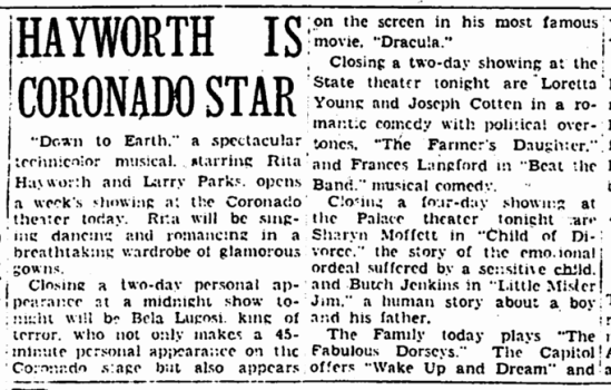 The Tell-Tale Heart, The Rockford Morning Star, November 20, 1947 c