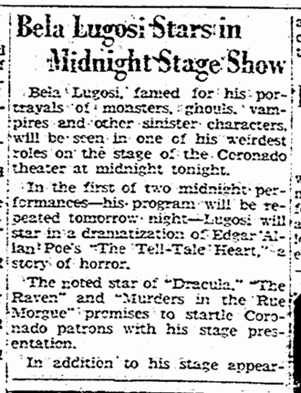 The Tell-Tale Heart, The Rockford Register-Republic, November 19, 1947