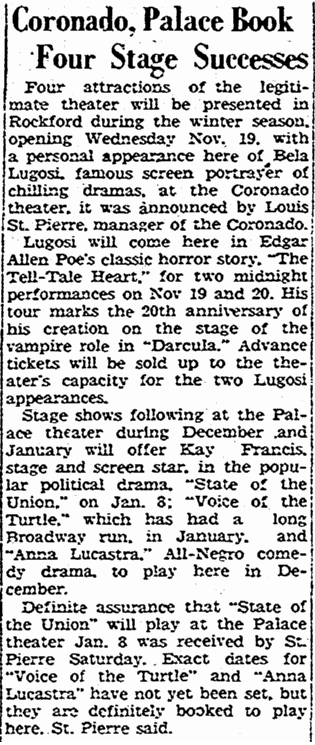 The Tell-Tale Heart, The Rockford Register-Republic, November 3, 1947