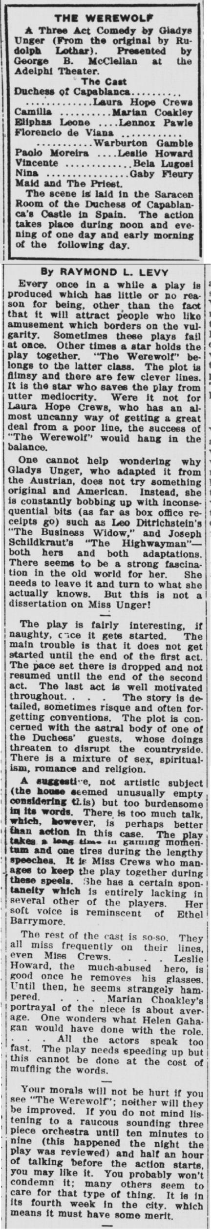 The Werewolf, Daily Northwestern, June 27, 1924