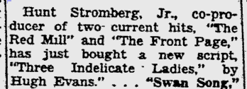 Three Indelicate Ladies, Pitsburgh Post-Gazette, September 24, 1946