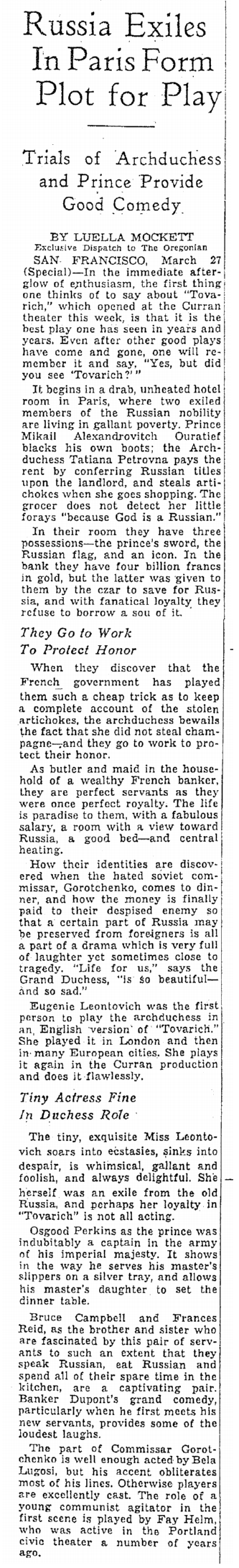 Tovarich, Oregonian, March 28, 1937