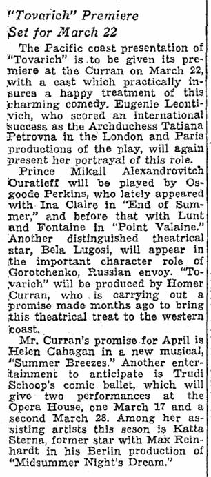 Tovarich, Oregonian, March 7, 1937