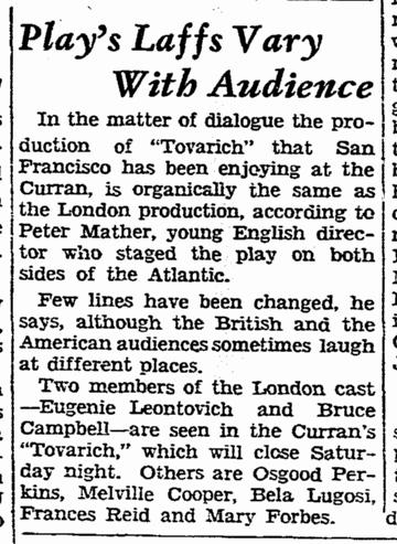 Tovarich, San Francisco Chronicle, April 14, 1937 2
