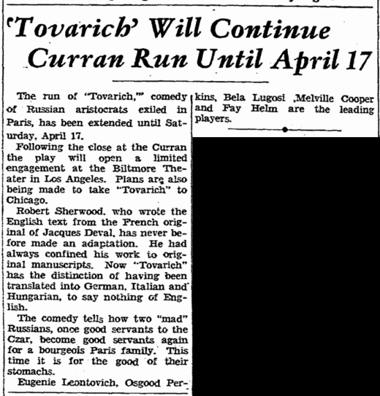 Tovarich, San Francisco Chronicle, April 9, 1937