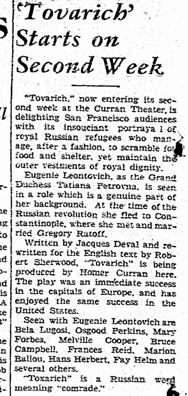 Tovarich, San Francisco Chronicle, March 30, 1937
