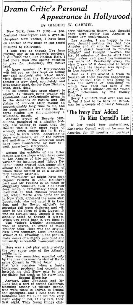 Tovarich, Springfield Republican, June 20, 1937