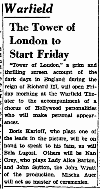 Tower of London. San Francisco Chronicle, December 13, 1939