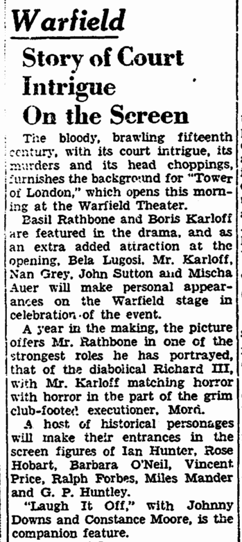 Tower of London. San Francisco Chronicle, December 15, 1939 2