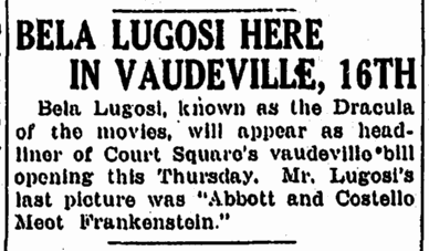 Vauderville, Springfield Union, September 13, 1948
