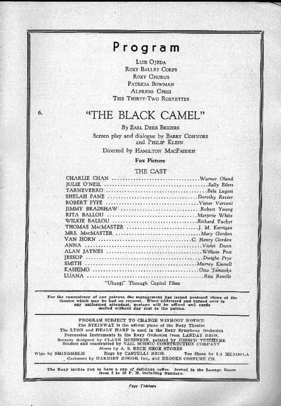 The Black Camel Programme for the opening at the Roxy Theatre in New York, July 5, 1931 (2)