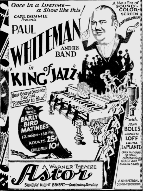 King of Jazz, Reading Eagle, June 22, 1930