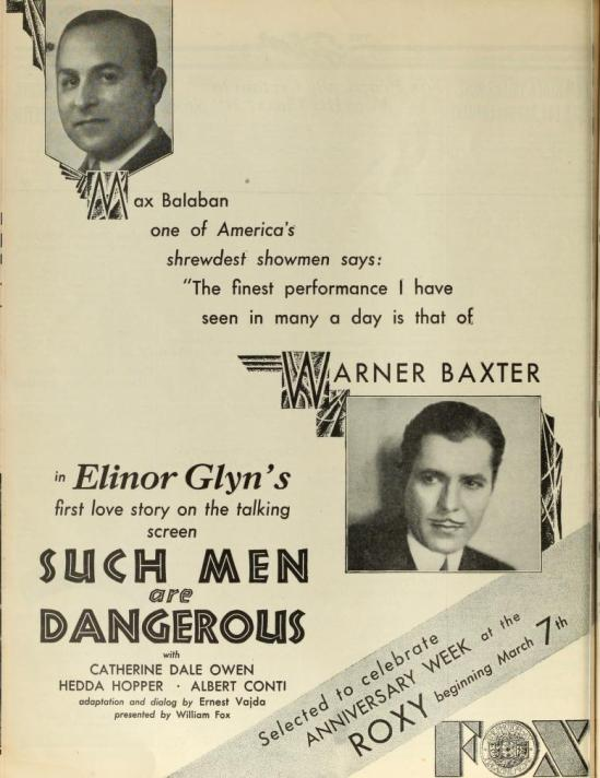 Such Men Are Dangerous, The Film Daily March 4 1930