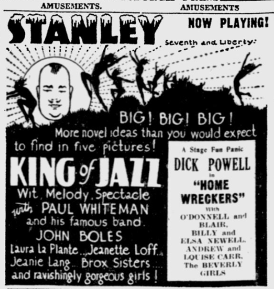King of Jazz, The Pittsburgh Press, June 20, 1930