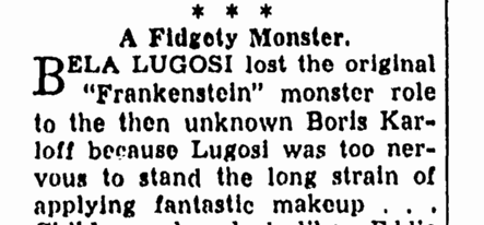 Bela Lugosi, Canton Repository, December 20, 1938
