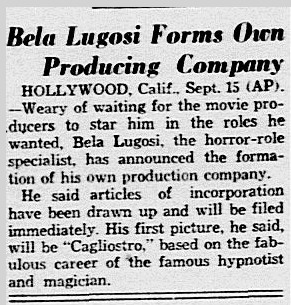 Bela Lugosi, Dallas Morning News, September 16, 1935