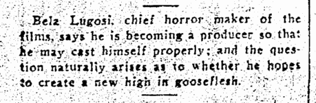 Bela Lugosi, The Times-Picayune, September 19, 1935