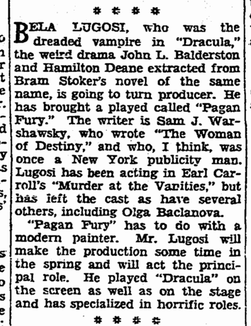Pagan Fury, San Francisco Chronicle, January 31, 1934