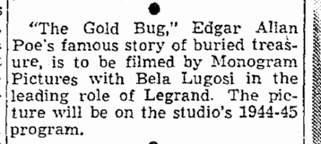 The Gold Bug, Seattle Daily Times, February 21, 1944