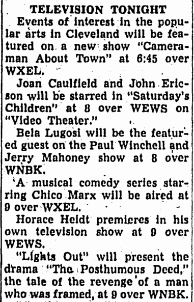 The Spiedel Show, Canton Repository, October 2, 1950