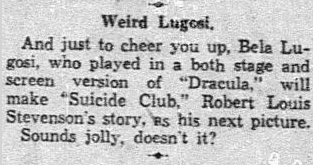 The Suicide Club, Dallas Morning News, January 4, 1932