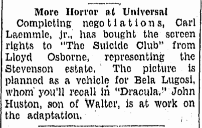 The Suicide Club, Tampa Tribune, January 15, 1932
