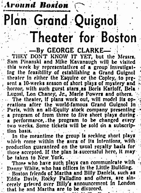Theatre, Boston Daily Record, August 31, 1953