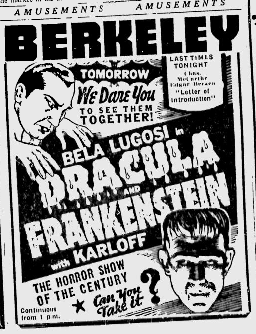Dracula & Frankenstein Berkerley Daily Gazette, October 27, 1938