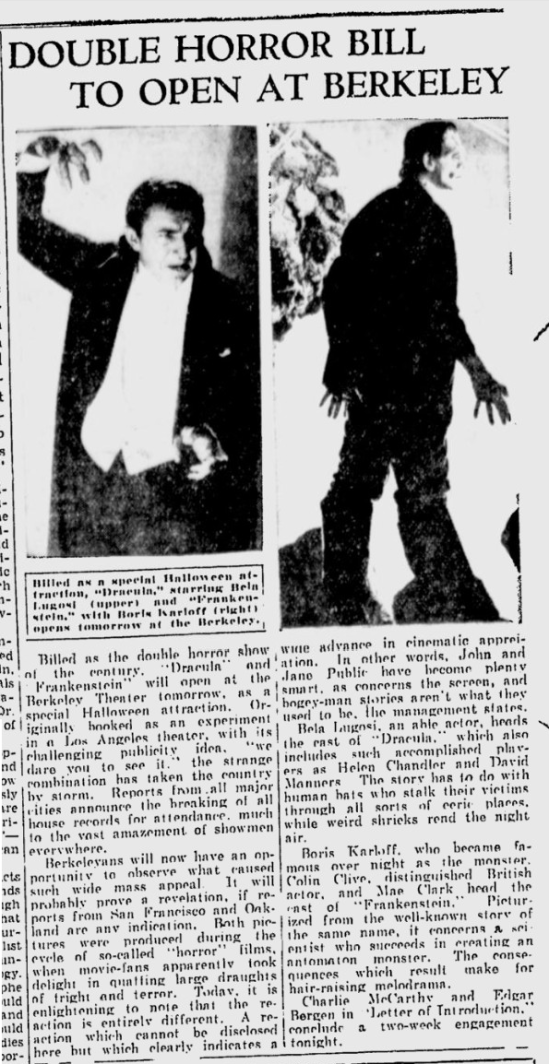 Dracula & Frankenstein Berkerley Daily Gazette, October 29, 1938
