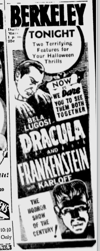 Dracula & Frankenstein Berkerley Daily Gazette, October 31, 1938