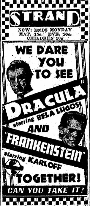 Dracula Frankenstein, Canton Repository, October 14, 1938