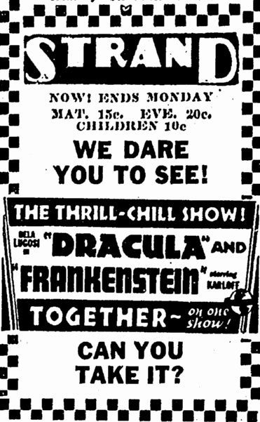 Dracula Frankenstein, Canton Repository, October 15, 1938