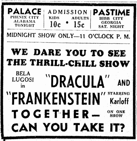 Dracula Frankenstein, Columbus Daily Enquirer, February 7, 1939