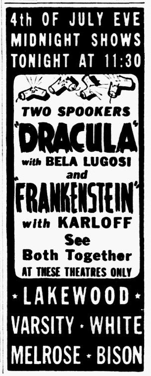 Dracula Frankenstein, Dallas Morning News, July 3, 1939