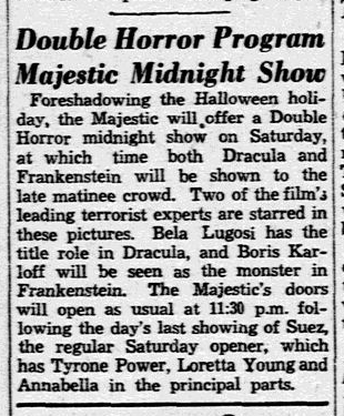 Dracula Frankenstein, Dallas Morning News, October 26, 1938
