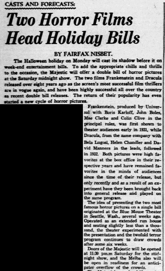 Dracula Frankenstein, Dallas Morning News, October 28, 1938