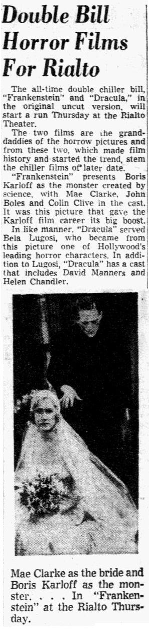 Dracula Frankenstein Double-Bill, Dallas Morning News, April 29, 1952