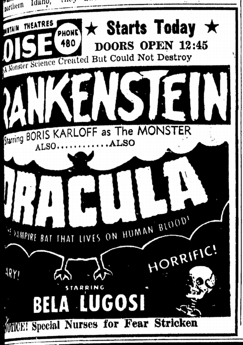Dracula Frankenstein Double-Bill Idaho Statesman, May 29, 1952
